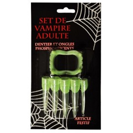 Dentier et ongles vampire phosphorescents Halloween