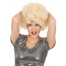 Perruque blonde afro mixte adulte