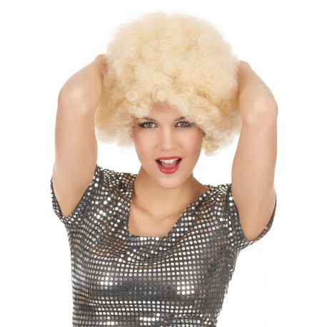 Perruque blonde afro adulte