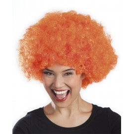 Perruque orange afro disco mixte adulte