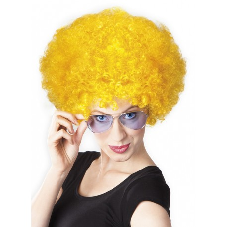 Perruque jaune afro disco mixte adulte