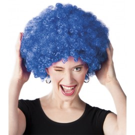Perruque bleue afro disco mixte adulte