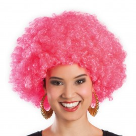 Perruque rose afro disco mixte adulte