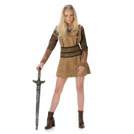 Costume Viking marron femme déguisement adulte