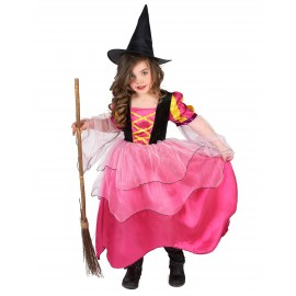 Costume Sorcière rose fille Halloween