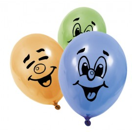 Ballons de baudruche Smiley multicolore (x8)