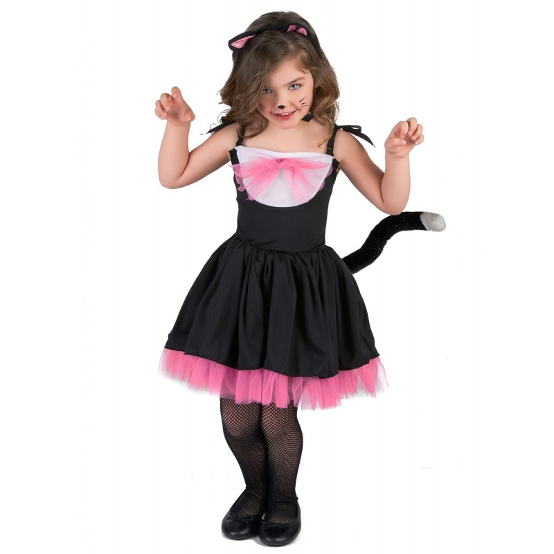 d guisement chat noir et rose fille costume enfant a la. Black Bedroom Furniture Sets. Home Design Ideas