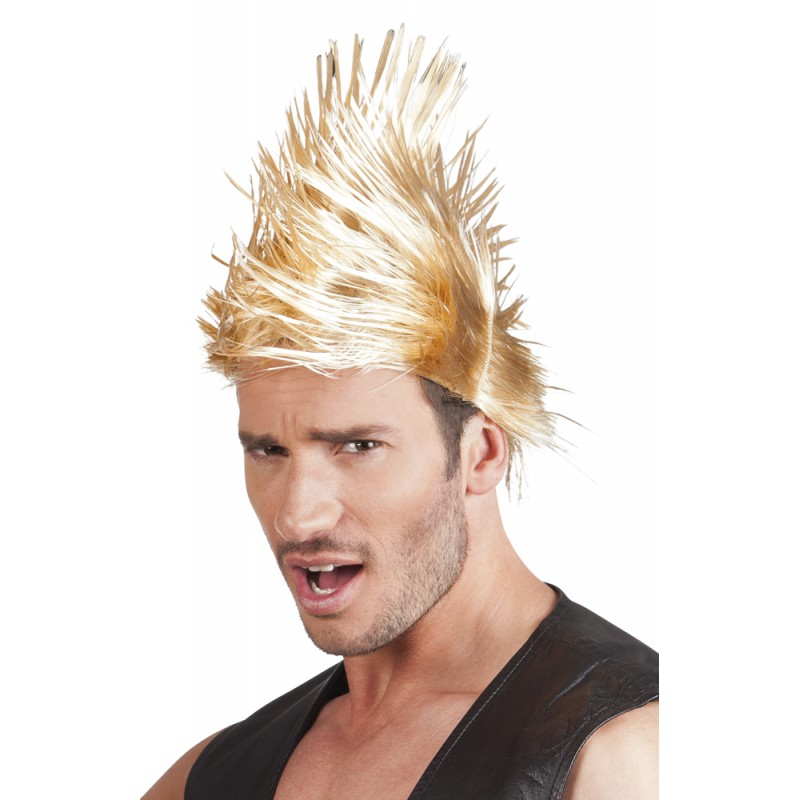 Perruque punk rock blonde homme