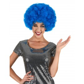 Perruque afro disco bleue adulte
