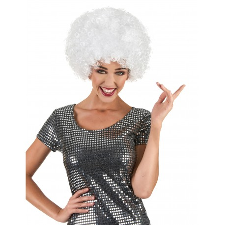 Perruque afro disco blanche adulte