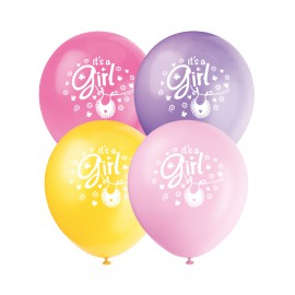 8 ballons en latex Baby Shower fille