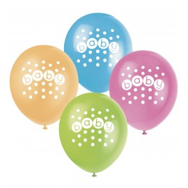 8 ballons en latex pastel Baby Shower