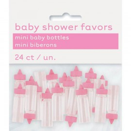 24 mini biberons rose Baby Shower
