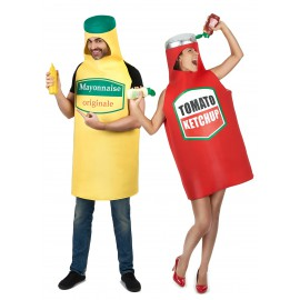 Déguisement de couple mayonnaise et ketchup costume adulte