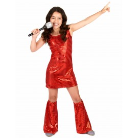Déguisement disco rouge à sequins fille costume enfant