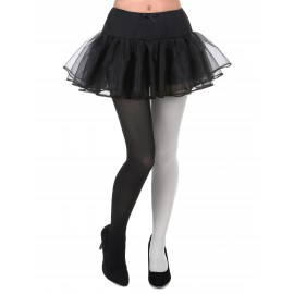 Collants bicolore noir et blanc adulte