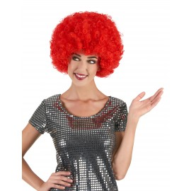 Perruque afro disco rouge confort adulte
