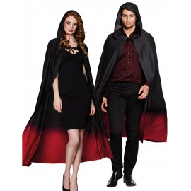 Cape noire dégradé rouge adulte Halloween
